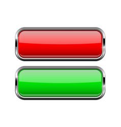 Square glass buttons with chrome frame red and vector