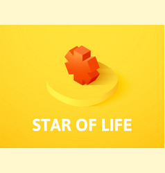 Star of life isometric icon isolated on color vector