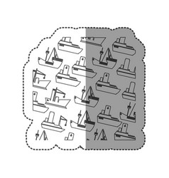 sticker silhouette pattern vessel and ship design vector image
