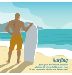 Surfing summer poster vector image