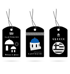 Tag in black with greece elements set one vector