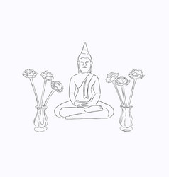 thai culture concept with buddha sketch vector image