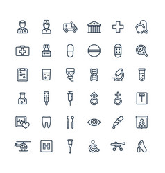 thin line icons set with medical medicine vector image