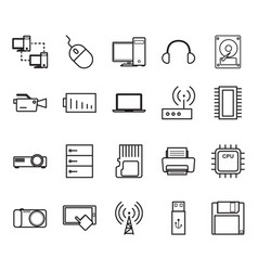 thin line tecnhology icon set vector image