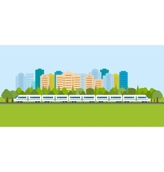 Train on railway with city background vector image