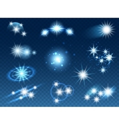 Transparent glowing light effects stars sparkles vector