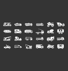 Truck icon set grey vector