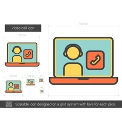 Video call line icon vector