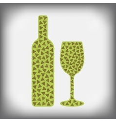 wine bottle with glass and a glass of wine with vector image