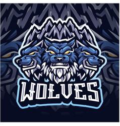 wolf esport mascot logo design vector image