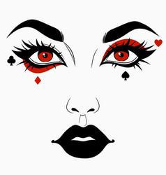 Woman face with joker makeup vector