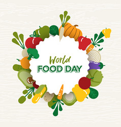World food day card of flat vegetable icons vector