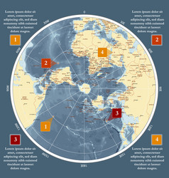World map in polar projection antarctic center vector
