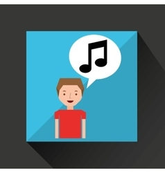 Young boy music note concept vector