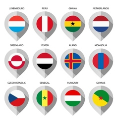 Marker from paper with flag for map - set fifth vector image vector image