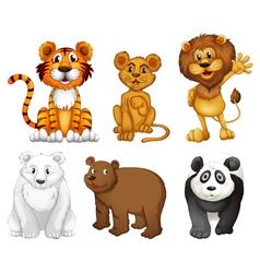 Six wild animals vector image vector image