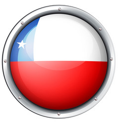chile flag on round badge vector image vector image