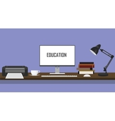 education desk with printer monitor pc computer vector image