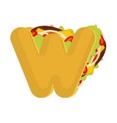 Letter w tacos mexican fast food font taco vector