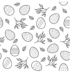 seamless pattern with easter eggs branches vector image