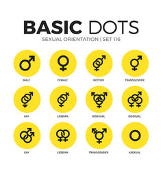 sexual orientation flat icons set vector image