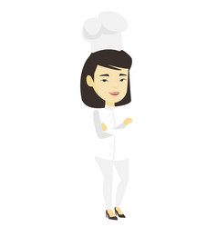 confident female chief cook with arms crossed vector image vector image