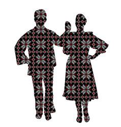folklore dancers in patterned ethnic motifs vector image vector image