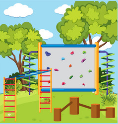 monkey bar and climbing wall in the playground vector image