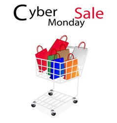 Shopping Bags in Cyber Monday Shopping Cart vector image vector image