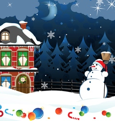 Snowman and scattered Christmas decorations vector image vector image