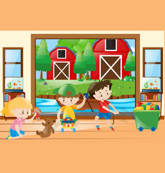 three kids playing toys at home vector image