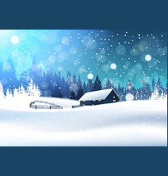 beautiful winter landscape with house in snowy vector image