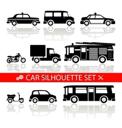 car silhouette icons set with reflection vector image vector image