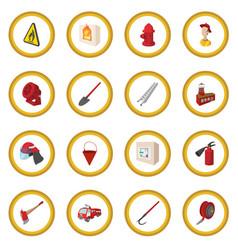 Firefighter cartoon icon circle vector