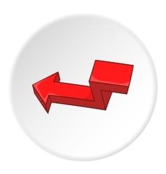 Red broken arrow icon cartoon style vector image vector image