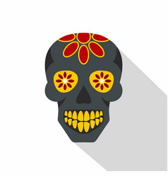 sugar skull flowers on the skull icon flat style vector image vector image