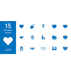 15 love icons vector