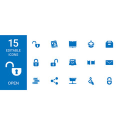 15 open icons vector image