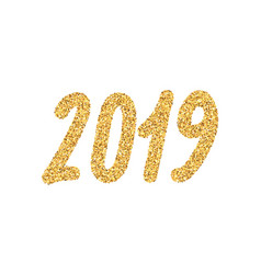 2019 new year golden number with bright sparkles vector image