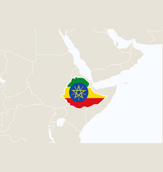 Africa with highlighted ethiopia map vector