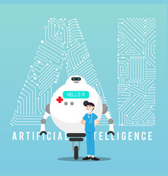 Ai robot and doctor with design vector