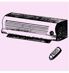 air conditioner and remote control vector image