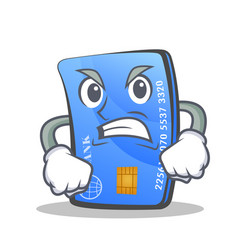 Angry credit card character cartoon vector
