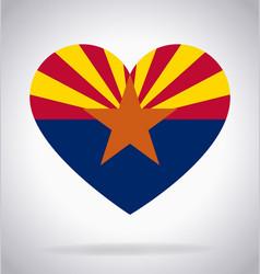 Arizona az state flag in heart shape symbol vector