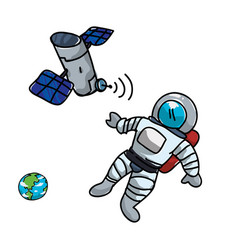 Artificial satellite orbiting with astronaut and vector