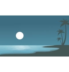 Beach at night with moon of sulhouettes vector