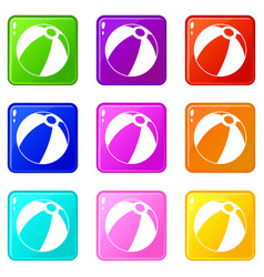 Beach ball icons 9 set vector