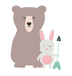 Bear grizzly and rabbit with arrow bohemian style vector