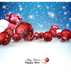 Beautiful Christmas red balls and gifts on snow vector