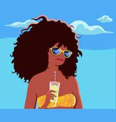 Beautiful young tanned woman with lemon cocktail vector